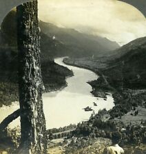 Canada BC near Yale the mighty Fraser Canyon Old Stereoview Photo Keystone 1904