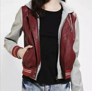 Obey Propaganda Women's Hooded Varsity Jacket Size Small Faux Leather Maroon