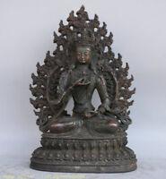 "10 ""Ancien Tibet Bouddhisme Bronze Vajrasattva Vajrasattra Statue De Bouddha"