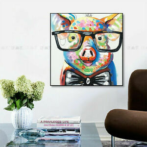"""LL845 Home decor Canvas 100% Hand-painted oil painting Lovely pig Unframed 24"""""""