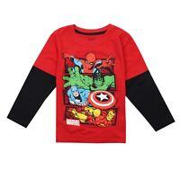 Official Marvel Comics - Boys Long Sleeve T-shirt - Kids Tops - Red / Black