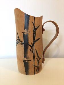 Vintage Carved Wood Bamboo Jug Display Vase Painted Black Wooden MCM Boho Decor
