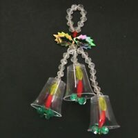 "Handmade Beaded Christmas Ornament Bells Candles 5.5"" Holiday Vintage"