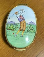 Vintage Crummles Enamel Trinket Box Gentleman Golfer