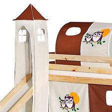 Donjon tour pour lit surélevé mi-hauteur avec toboggan tissu coton motif hiboux