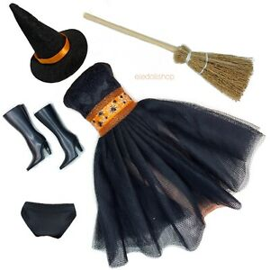 Eledoll Clothes Halloween Doll Fashion Pack Black Dress Witch Hat Boots Broom