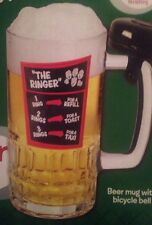 The Ringer 20 Oz Glass Beer Mug Stein w/ Bicycle Bell 1=Refill 2=Toast 3=Taxi