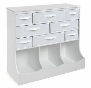Badger Basket Storage Station with Eight Baskets and Three Bins - White
