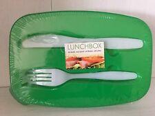 Lunchbox mit Besteck Frühstücksbox Grün  2 Fächer