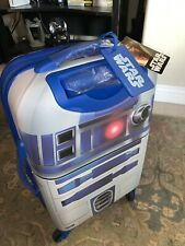"""NEW American Tourister - Star Wars 21"""" Spinner - White/Blue R2D2 Disney Suitcase"""