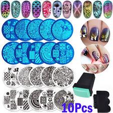 10* Nail Art Stencil Stamping Template Plate Set Tool Stamper Design Kit WE9