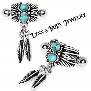 Turquoise Stone Feather * 316L Stainless Steel * Cartilage Cuff Earring
