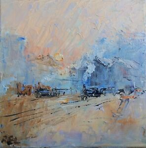 oil On Canvas-original Painting- Trains-steam-railways-monet-paris
