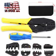 Profession Ratchet Terminal Crimper Wire Crimping Pliers Tool Kit with 5 Dies Us
