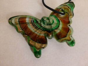 green gold brown glitter blown artisan glass butterfly lover necklace jewelry