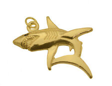 Black Diamond Shark Eye REAL 10K Yellow GOLD Jewelry pendant charm 3D New Solid