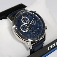 Seiko Chronograph Navy Blue Date Leather Strap Men's Watch SSB333P1