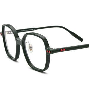 Fashion Large Polygon Eyeglasses Acetate Women Men Rivet Eyewear For Nearsight