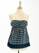 Abercrombie & Fitch Womens Blue Check Cotton Bandeau Top Size S (UK 8)