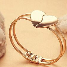Fashion Women Two Layers Gold Plated Broken Heart Bracelet Bangle Charm Jewelry