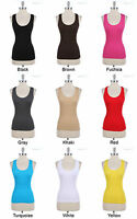 Seamless Spandex Solid Sleeveless Ribbed Sports Tank Top Racerback ONE SIZE