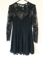 Divided Black Lacy Fit and Flare Dress Size 8 Knee Length Long Sleeves Evening