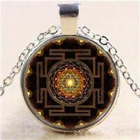 Newest Sri Yantra Photo Cabochon Glass Pendant Silver Chain Necklace Jewelry FT