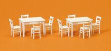 Preiser 17217 scala H0 2 tavolo,8 SEDIE COLORE BIANCO Kit di costruzione # NUOVO