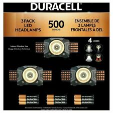 Duracell LED Headlamps 500 Lumens with Batteries 3 Pack