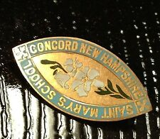 VTG 1920s BROOCH PIN Saint Mary's School 14K GOLD Enamel J.C. Derby Concord NH
