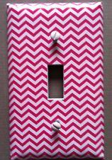 Pink White Light Switch Cover Plates Chevron Zig Zag Pattern