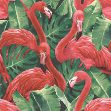 G56405 - Global Fusion Green Red Flamingos Galerie Wallpaper