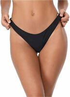 RELLECIGA Women's Cheeky Brazilian Cut Bikini Bottom, Black, Size XX-Large ffdO