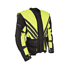 New Men Black Hivis Cordura Motorbike Jacket CE Armoured Textile Motorcycle Moto