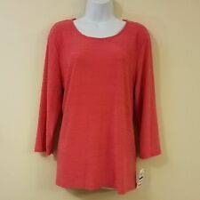 JM Collection Top XL Textured Jacquard Pink Rose 3/4 Sleeves Womens
