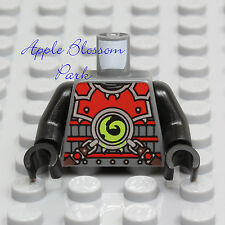 NEW Lego Ninjago GRAY MINIFIG TORSO Black Arms Hands Red Armor Chain Scout Suit