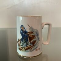 Vintage Norman Rockwell 1985 Brave The Storm Coffee Cup Mug Used White Gold 12oz