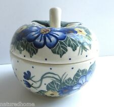"""POLISH POTTERY, STONEWARE 4"""" APPLE SHAPED LIDDED BOWL, HANDCRAFTED by WR  UNIKAT"""