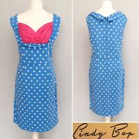 Lindy Bop Vanessa Dress 20 Blue Polka Dot Pencil Wiggle Rockabilly Pin Up Party