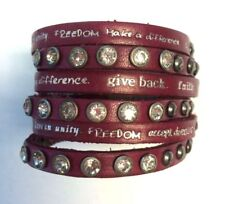 Humanity Inspire with Kindness Cuff Bracelet w Studs Crystals Rose