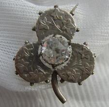 Antico Vittoriano H/M Chester 1889 SILVER Shamrock VECCHIO TAGLIO DIAMOND PASTA Spilla