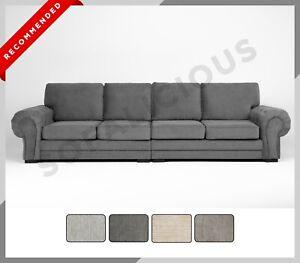 NEW Chesterfield VERONA 4 Seater Sofa Fabric Full Formal Back Grey Cream Mocha