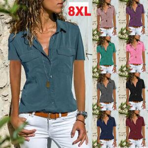 Plus Size Women V Neck Short Sleeve Shirt Blouse Ladies Summer T-shirt Tops Tee