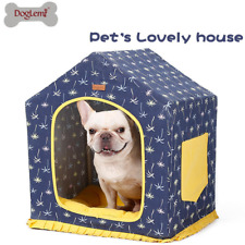 Canvas Dog Bed Foldable Pet House Cave Portable Dog Bed with Removable Cushion