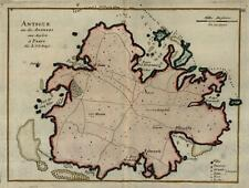 British Antigua Antilles Caribbean 1725 le Rouge engraved map hand color