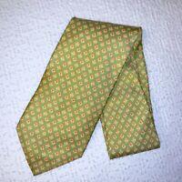 Salvatore Ferragamo Men's Green & Yellow Floral Design Silk Necktie Italy