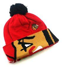 Chicago Blackhawks New Reebok Toque Pom Logo Cuff Red Black Era Beanie Hat Cap