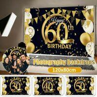 30-60th Geburtstag Hintergrund Happy Party Schwarz Gold Luftballon Foto Banner