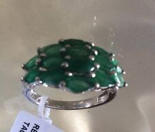 3 Ct, Natural, Kagem Zambian, Emerald Ring, Platinum On Sterling Silver, Size P