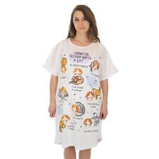 "Cat Theme Sleep Shirt Pajamas ""How to sleep with a Cat"" 00771T"